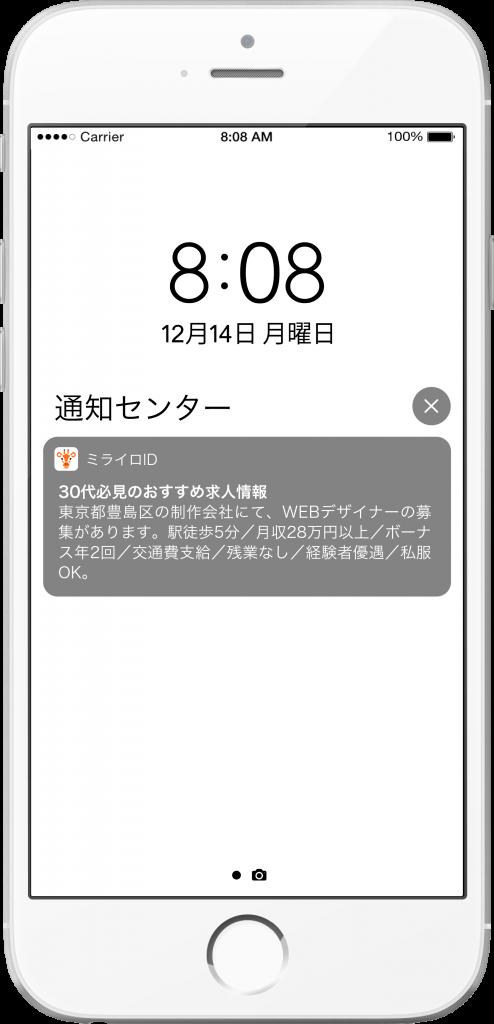 スマートフォンのホーム画面に表示されるプッシュ通知のイメージ