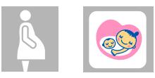 画像左 妊婦のマーク 画像右 マタニティマーク